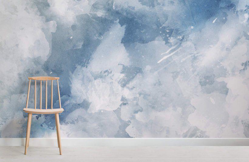 White Blue Watercolor Wallpaper Mural Murals Wallpaper Watercolor Wallpaper Painting Wallpaper Watercolor Mural
