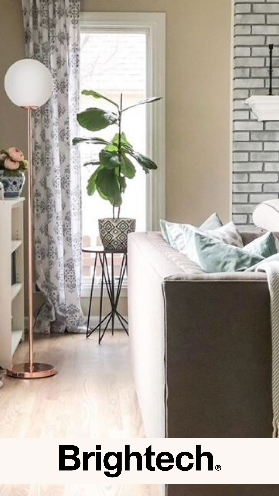When the indoor plant and stylish lamp are really all you need to create the perfect corner...⠀🍃 ⠀⁠⠀⁠Thank you @ellenblisshome 💛💛💛⁠ Click now to order your floor lamp just in time for your spring decor refresh. #brightech #floorlamp #inspiringinteriors #interiordesign #brasslamp #livingroomdecor #rosegold