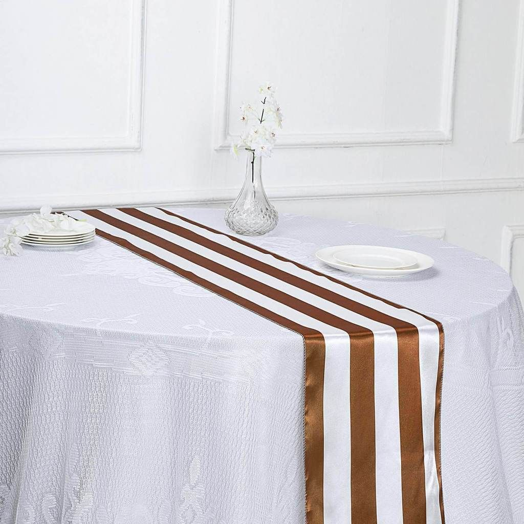 12 X 108 Gold White Stripe Satin Table Runners In 2020 Striped Table Runner Striped Table Table Runners