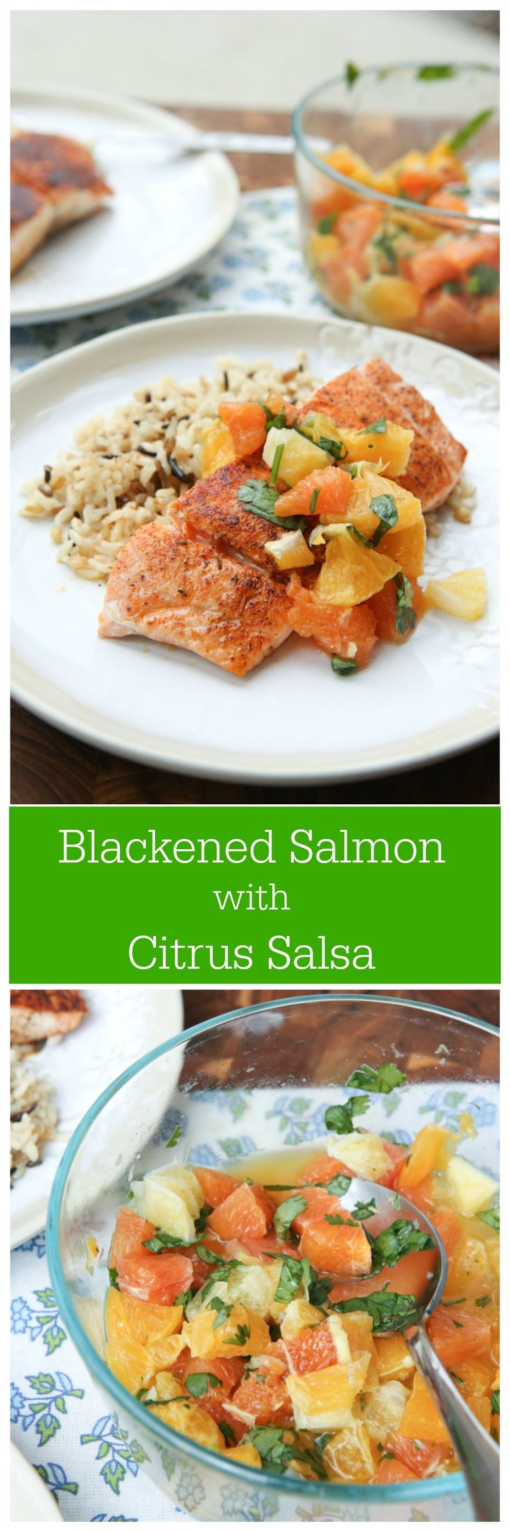 Pan Seared Blackened Salmon with Citrus Salsa - this simple recipe is healthy and screams spring!