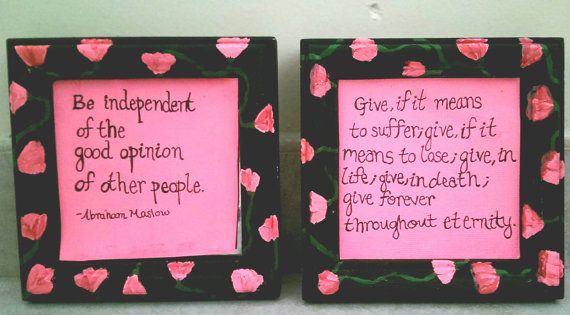 Made by shop member Sarah (see her shop at www.etsy.com/Oceandamour). Pink quote in black rose frame. Each framed quote is 5x5x1