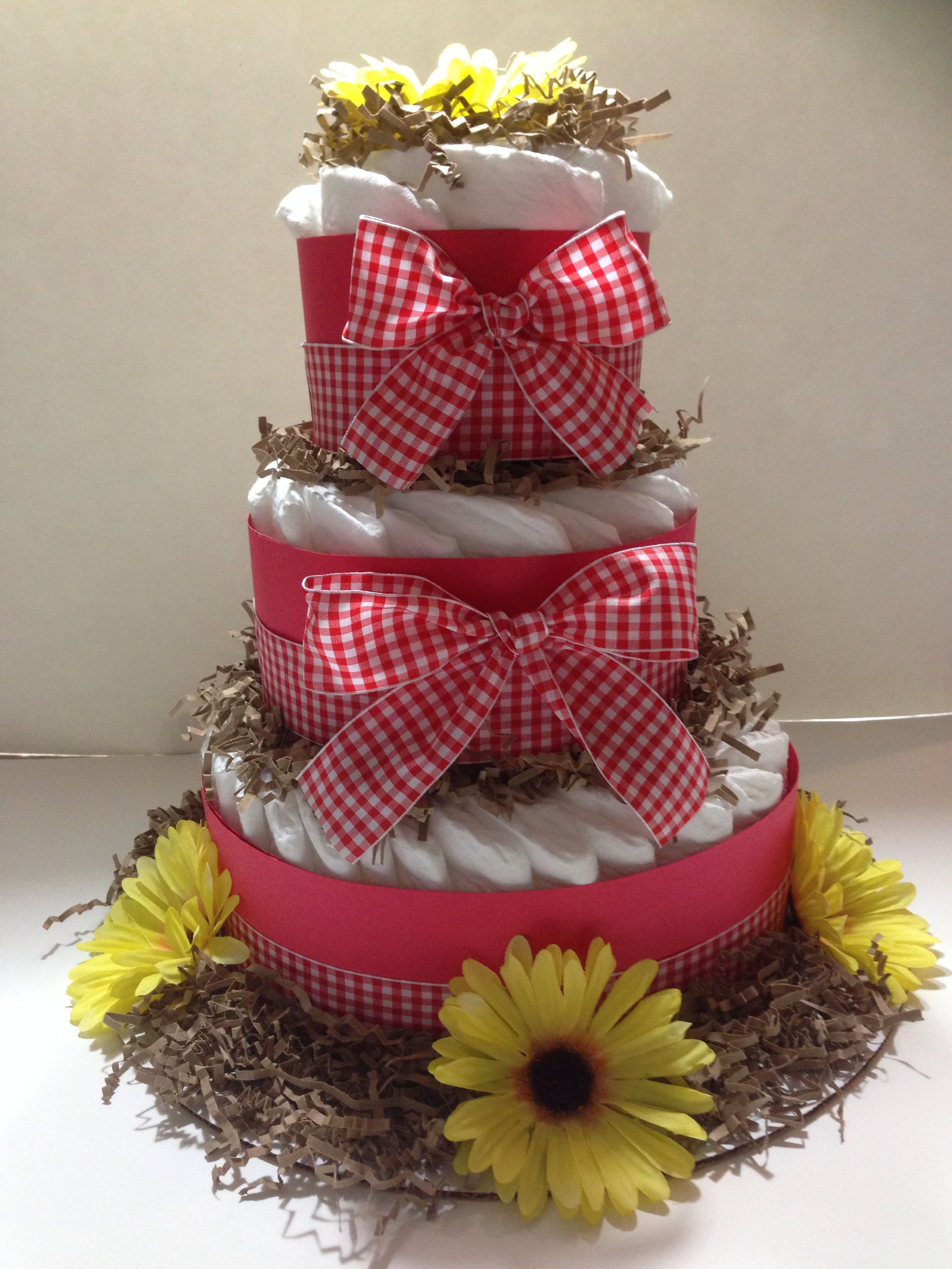 Pampered With A Baby Q Diaper Cake Gender Reveal
