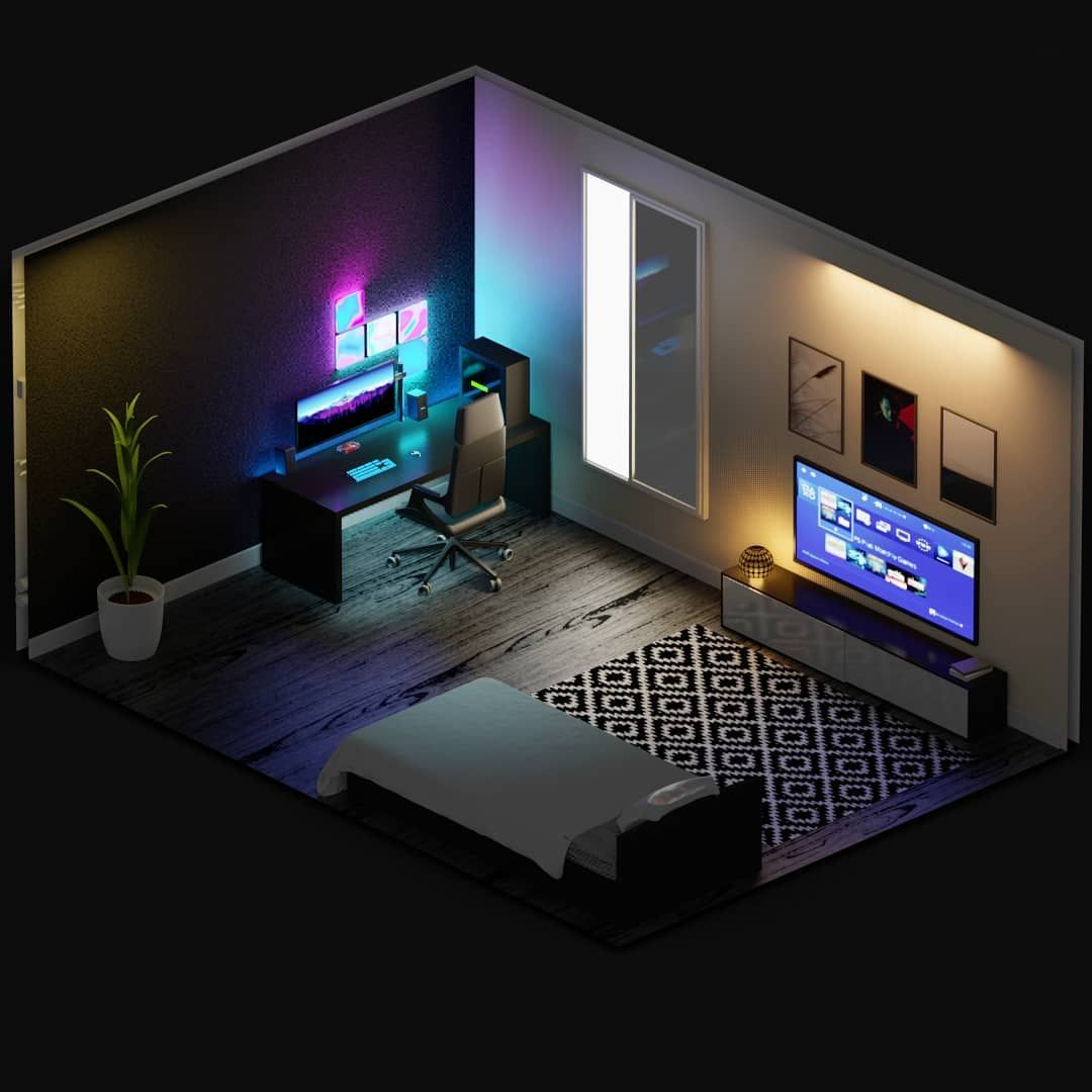 Daily Setup Tech Pc Gaming On Instagram That S My Setup Huge Shout Out To Amrtaha3dartist For Making T In 2020 Bedroom Setup Game Room Design Small Game Rooms