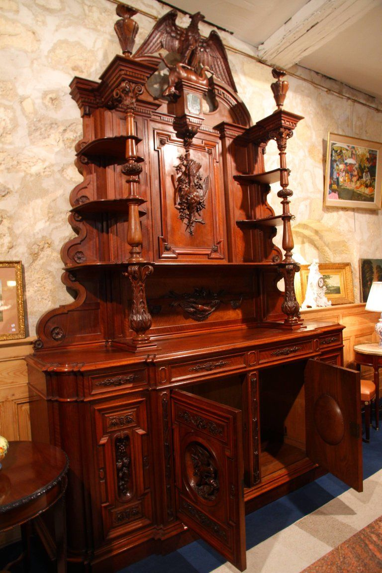 European Huge Cynegetic Or Hunting Dresser In Solid Walnut And Walnut Plywood On Solid For Sale Elite Furniture Antique Buffet Walnut Plywood