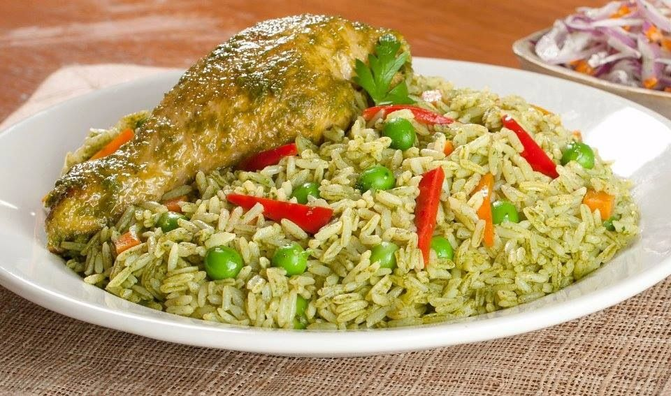 Peruvian chicken with rice! Arroz con pollo al estilo Peruano
