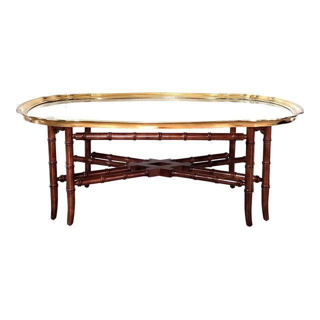 Baker Regency Faux Bamboo Brass Glass Tray Top Scallop Edge Cocktail Coffee Table Image 1 Of 9 Coffee Table Coffee Tables For Sale Brass Coffee Table