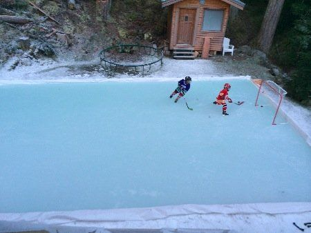 Exceptional Backyard Ice Rink Of Claudio Iatan Showing The Plastic Ice Rink Liner Method