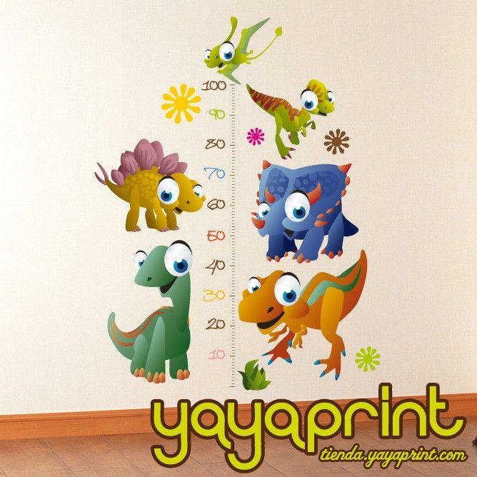 medidor vinilo decorativo pared dinosaurios vinilos niospara