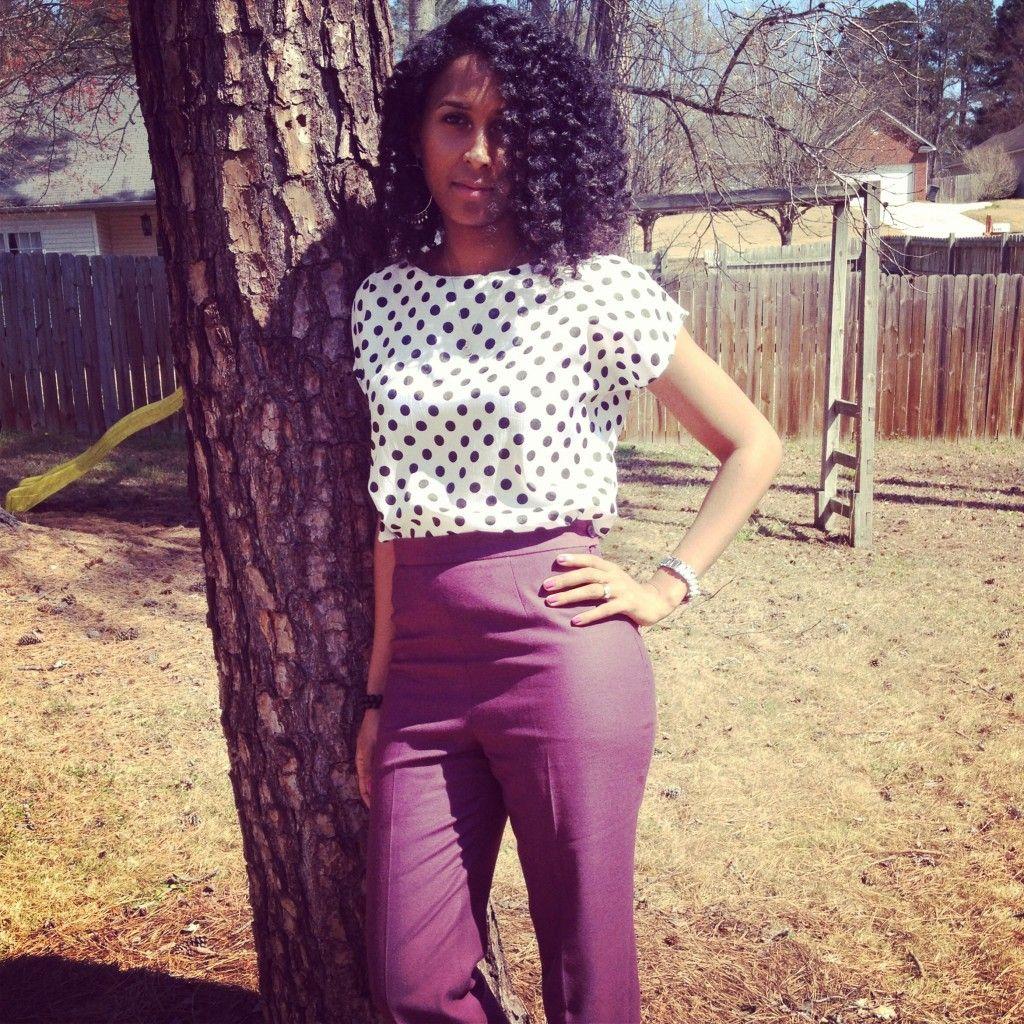 Pink pants, polka dot crop top