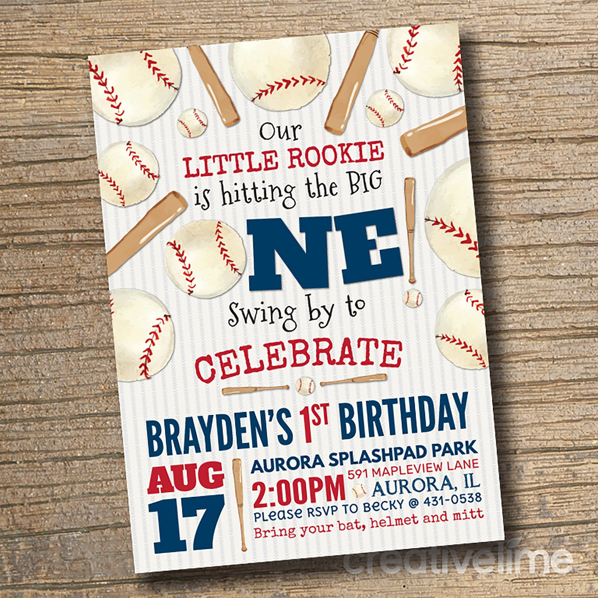 Printable Baseball Birthday Party Invitation Little