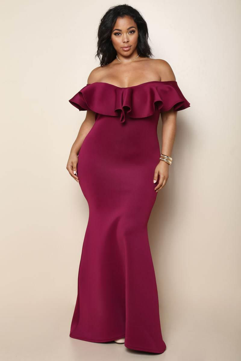 Women Off Shoulder Fishtail Plus Size Maxi Dress Mermaid Long Sleeve Party Solid