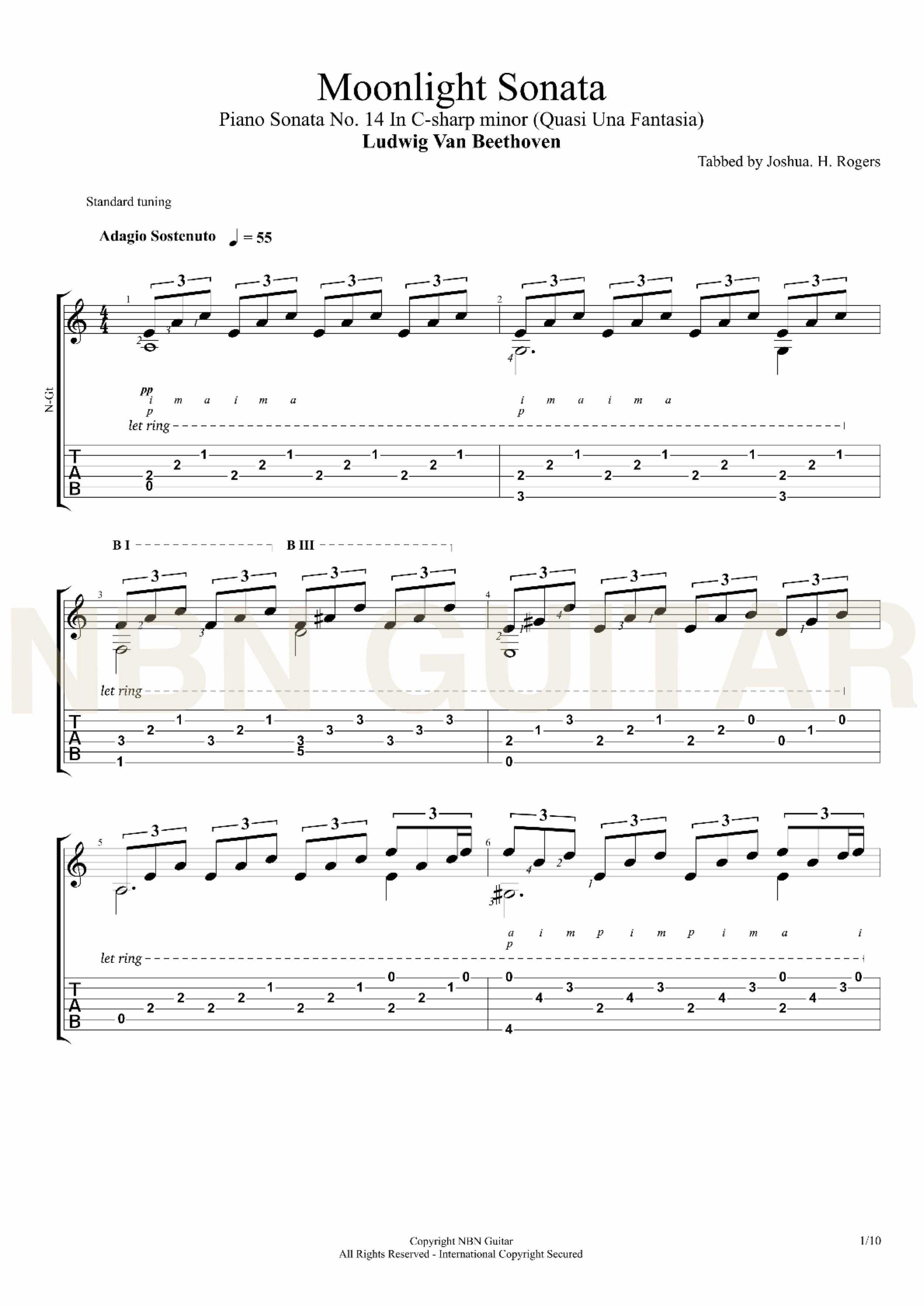 Moonlight Sonata Beethoven Sheet Music Tabs Songs