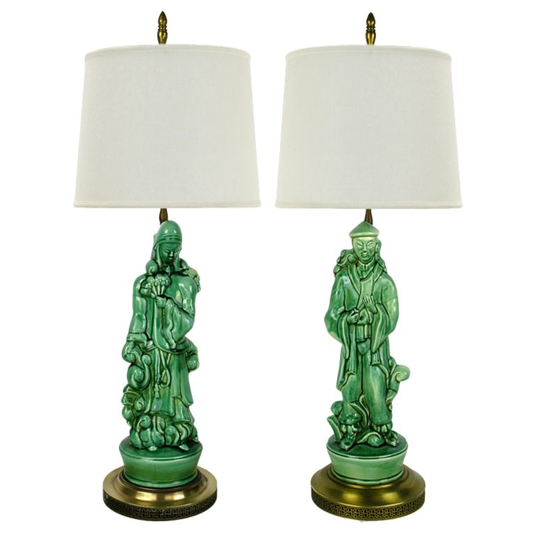 Pair Jade Green Porcelain Asian Figure Table Lamps
