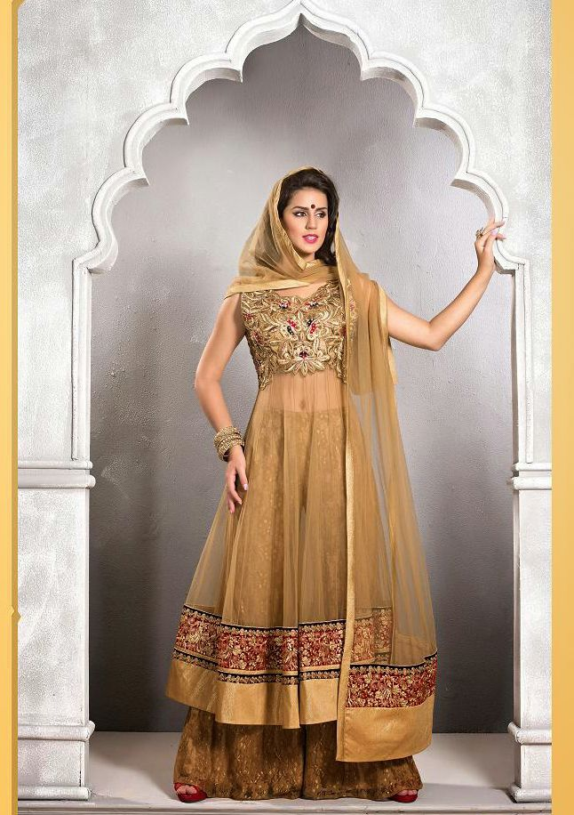 Bisque Net Designer Sharara Suit with Dupatta | @ $356.69