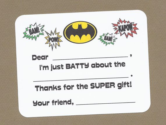 Personalised Superhero Thank You CardsKids Birthday Party Thank You Notes