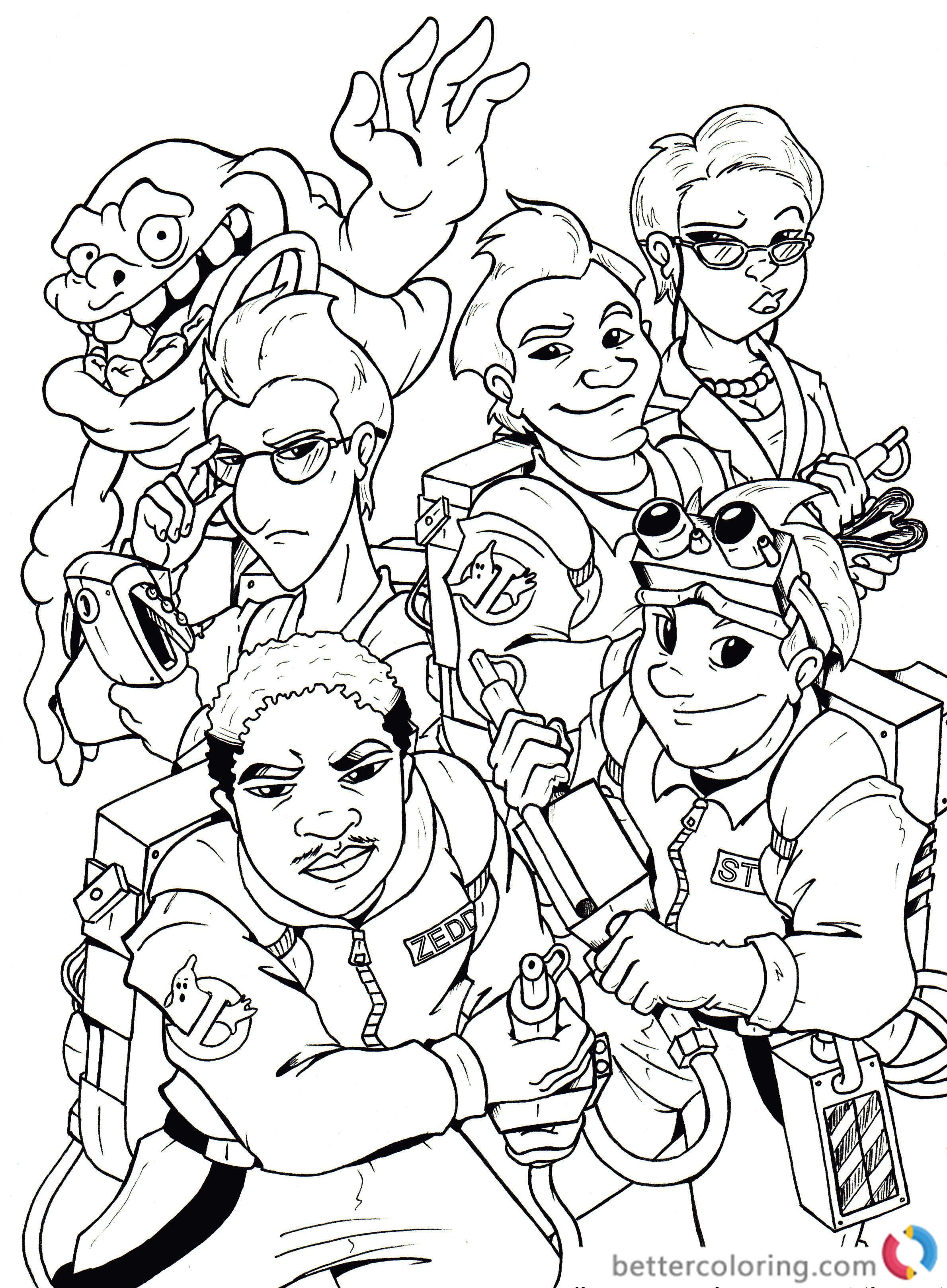 Free Ghostbusters Coloring Pages For Kids And Adults Coloring Pages Cartoon Coloring Pages Valentines Day Coloring Page