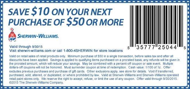 image relating to Sherwin Williams Printable Coupon called Sherwin-Williams Plans for the Area Sherwin williams