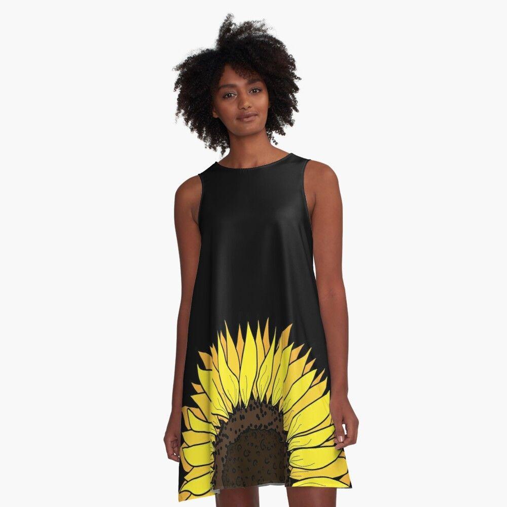 Yellow Sunflower Hand Drawn A Line Dress By Savanamms6 How To Draw Hands A Line Dress Yellow Sunflower [ 1000 x 1000 Pixel ]