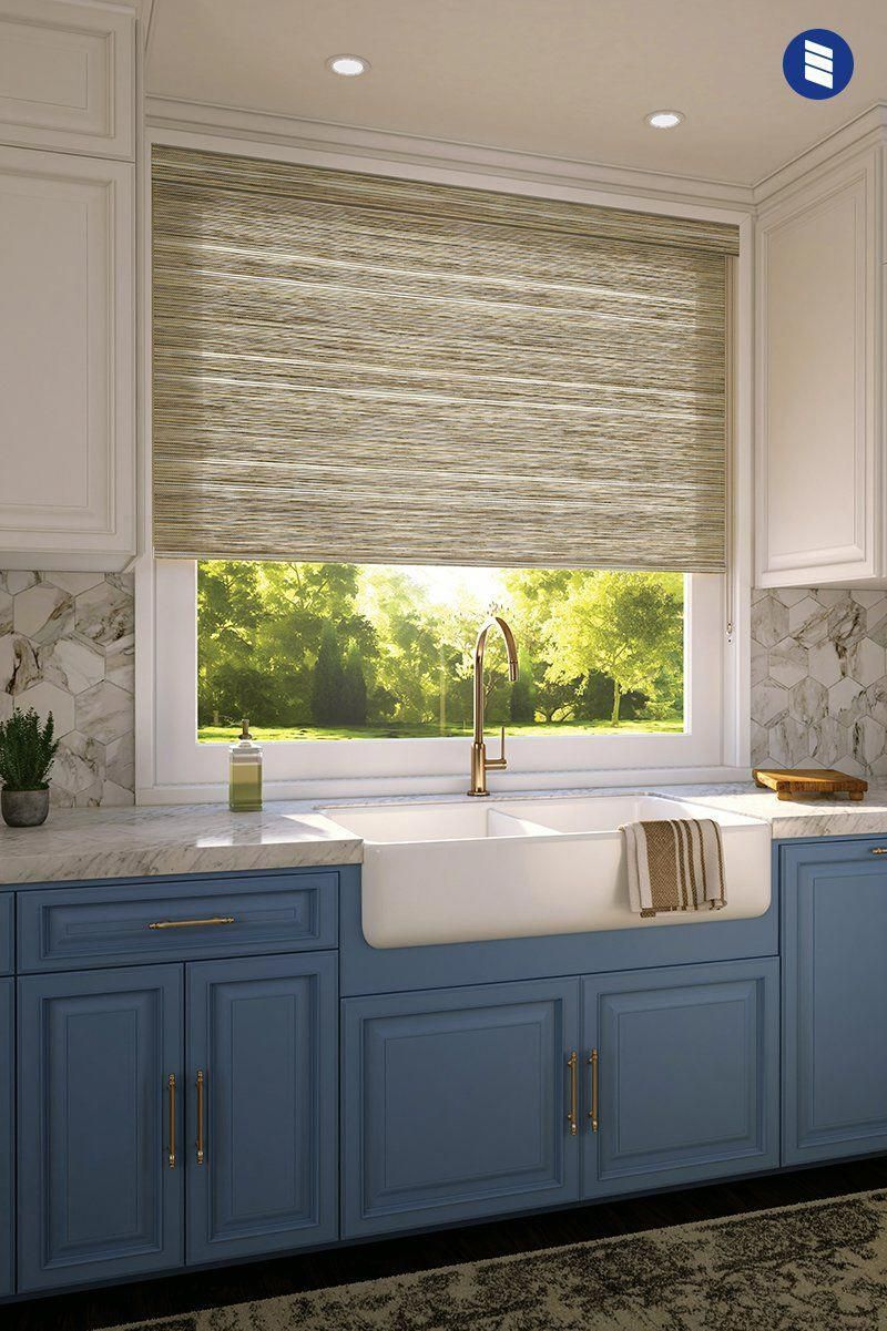 Dress Up Your Kitchen Window With Levolor Roller Shades Available In 100s Of Colors Patter Kitchen Window Treatments Kitchen Design Kitchen Window Coverings