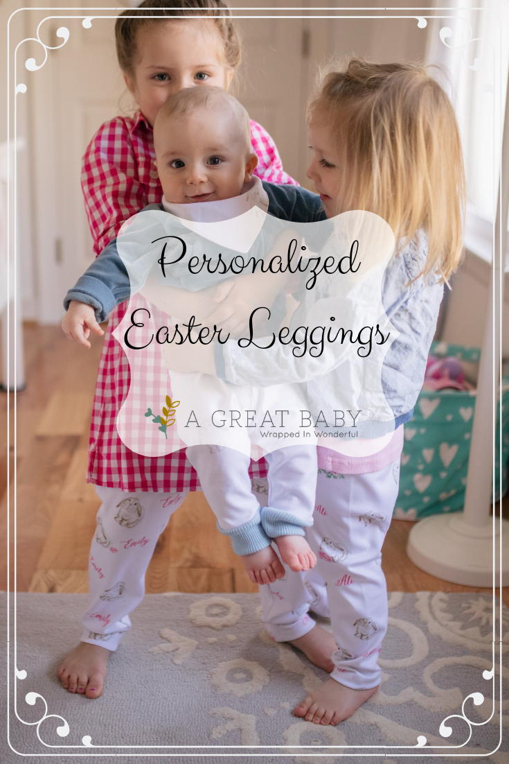 7eb9d67f0bf55 Personalized Easter leggings in pink and blue with adorable bunnies and your  children's names