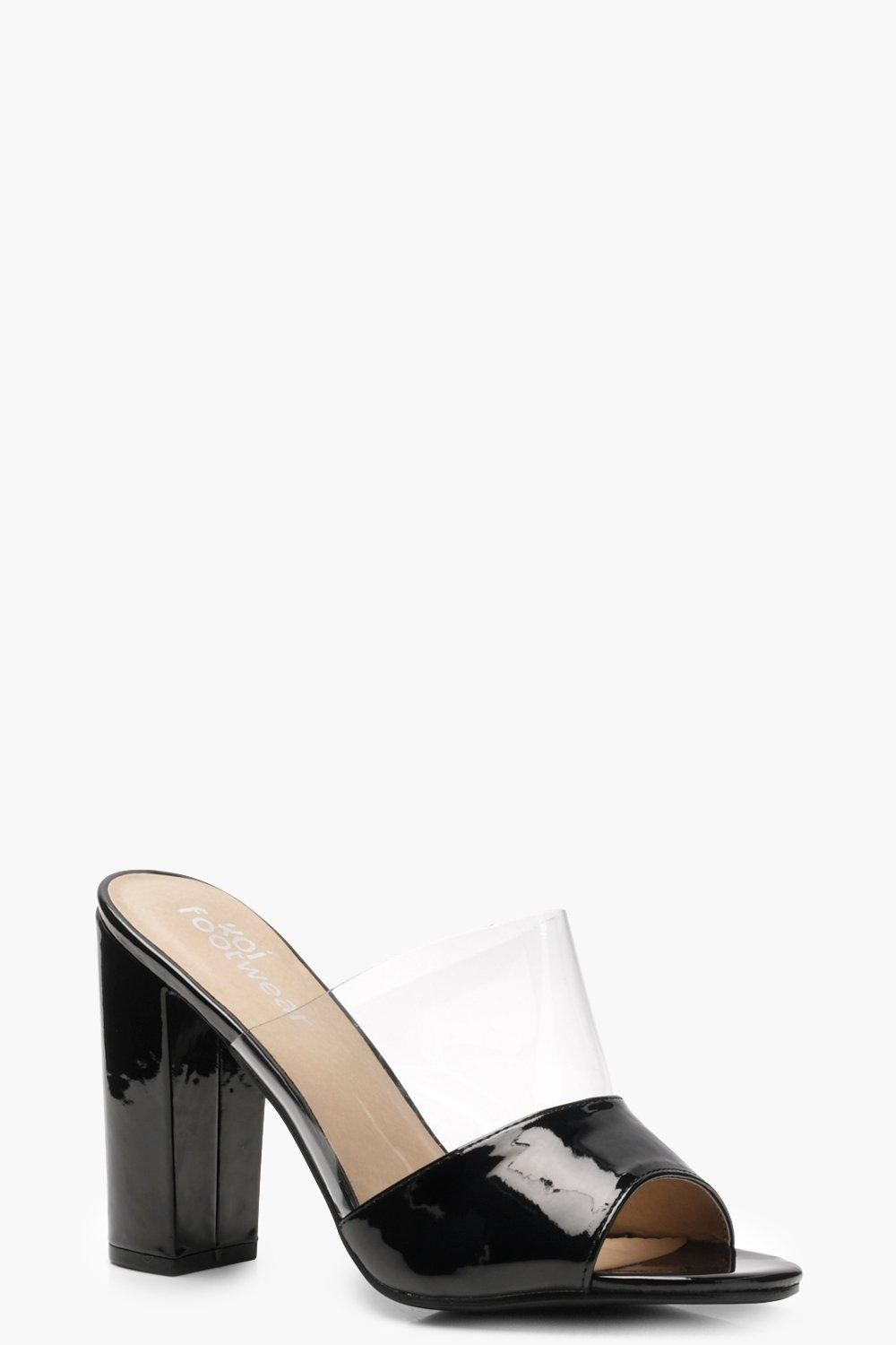 6699d0a637d Click here to find out about the Isabella Clear Panel Peeptoe Mules from  Boohoo