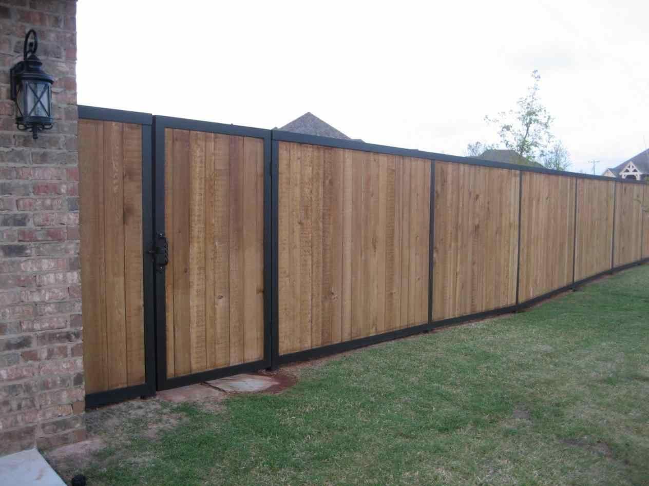 Steel Horizontal Cedar Fence With Metal Posts Posts