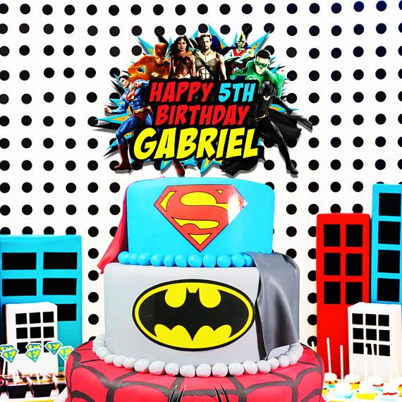 Superhero Cake Topper Justice League Avengers Party Birthday Banner Pals Hero