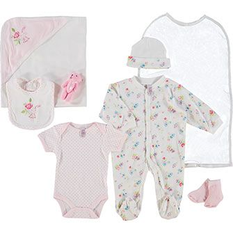 Seven Piece Pink Patterned Baby Set