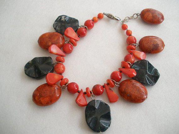 Red Coral & Black Onyx Bracelet by bluewhitewear on Etsy.