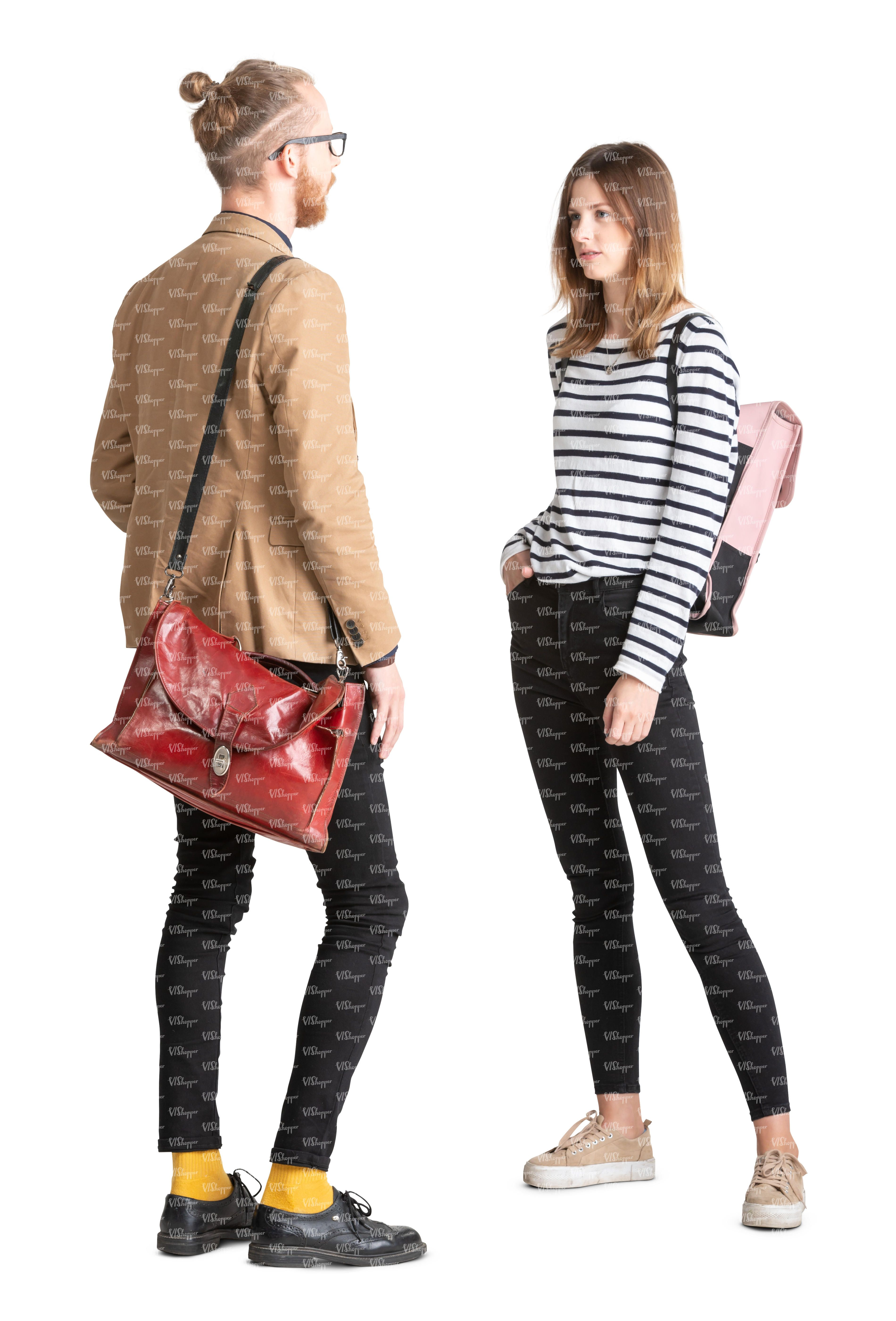 two cutout young people standing and talking