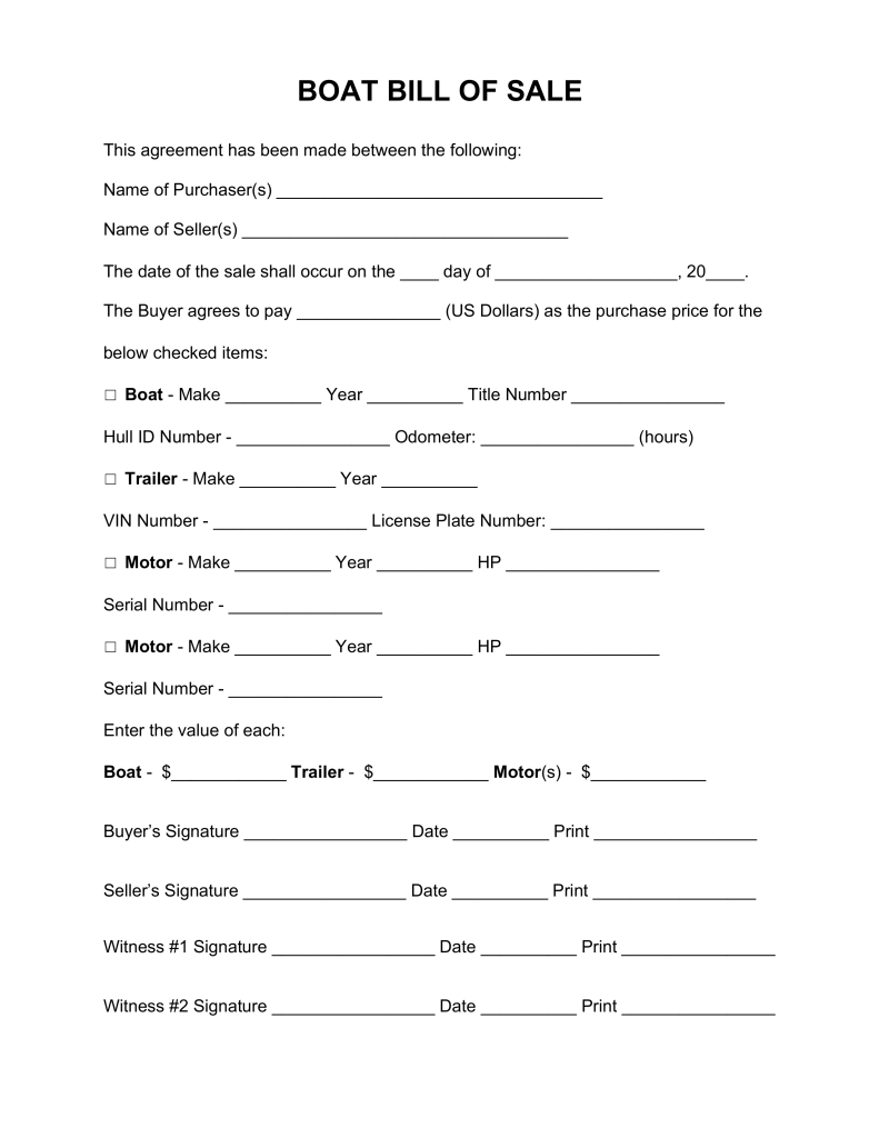 Free Boat Vessel Bill Of Sale Form Word Pdf Eforms