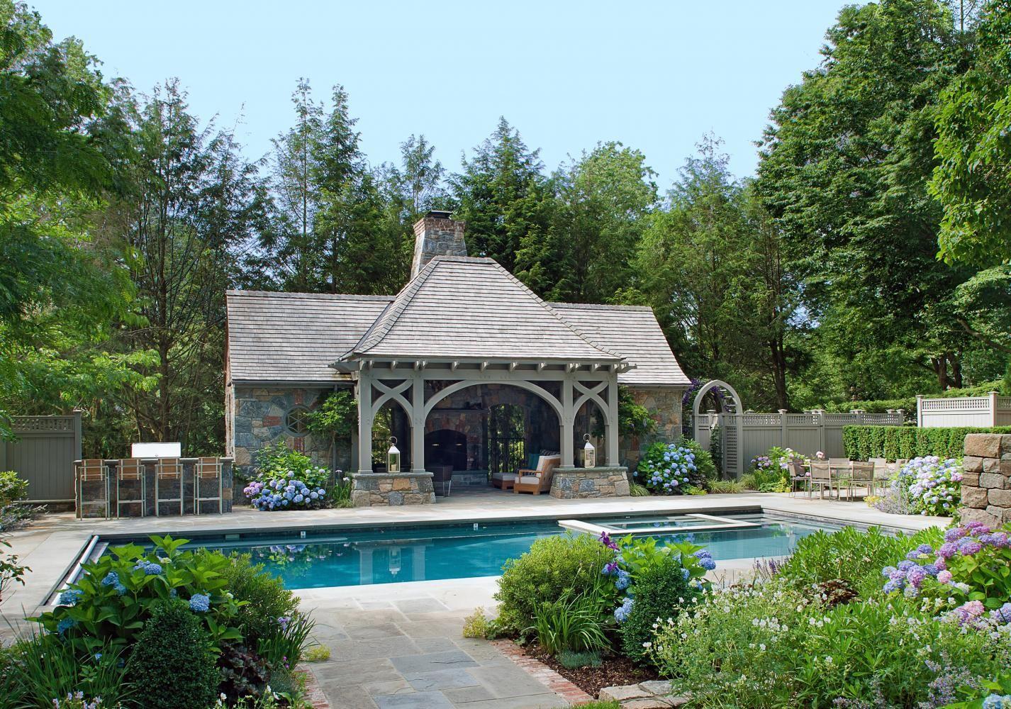 English Tudor Pool House Douglas Vanderhorn Architects Tudor House Exterior Pool House Designs Pool House Backyard pool house designs