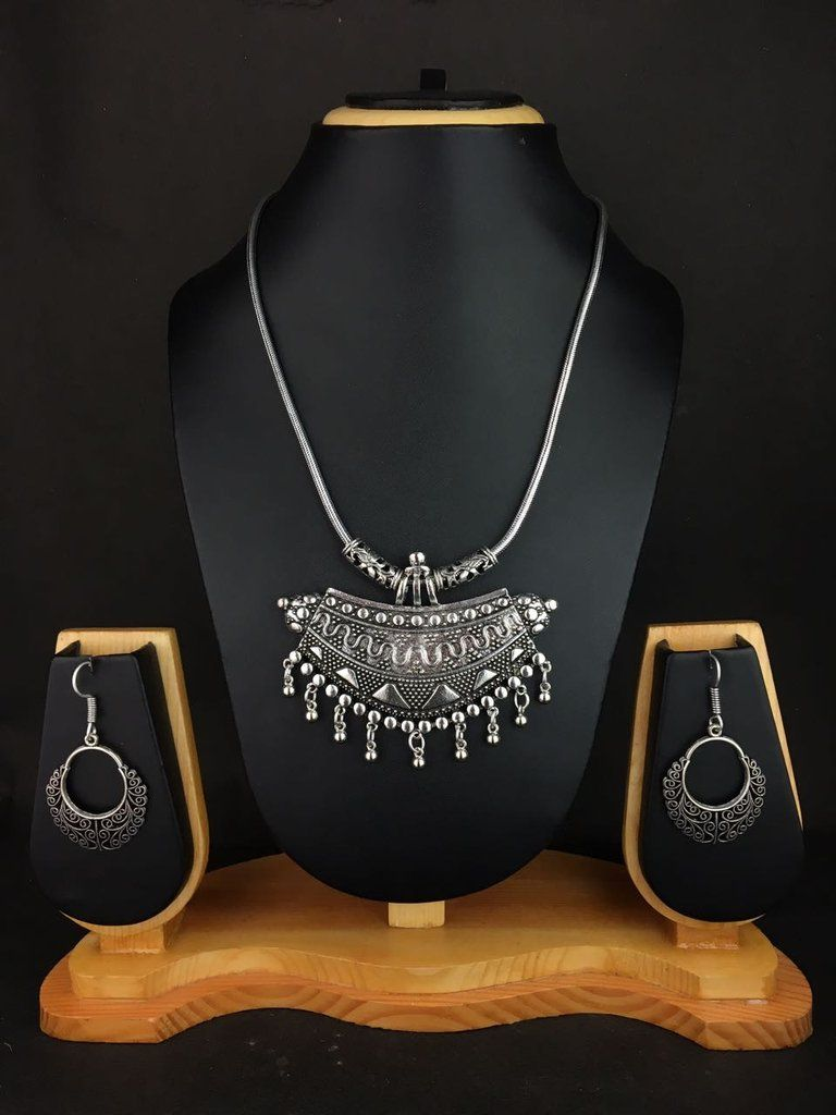 Heavy tribal necklace and earring set silver jewellery pinterest
