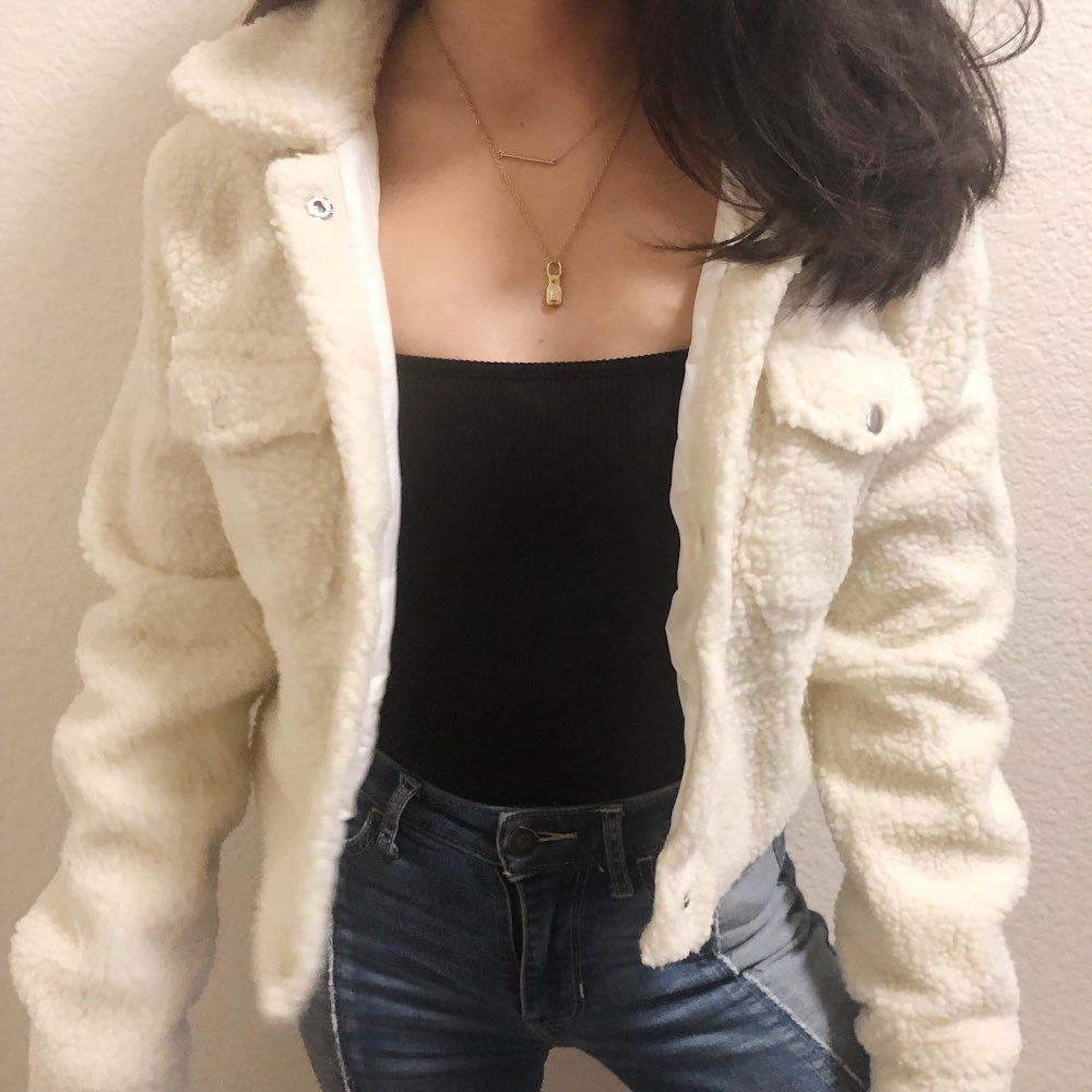 Thicker White Short Teddy Faux Fur Cropped Jacket Winter