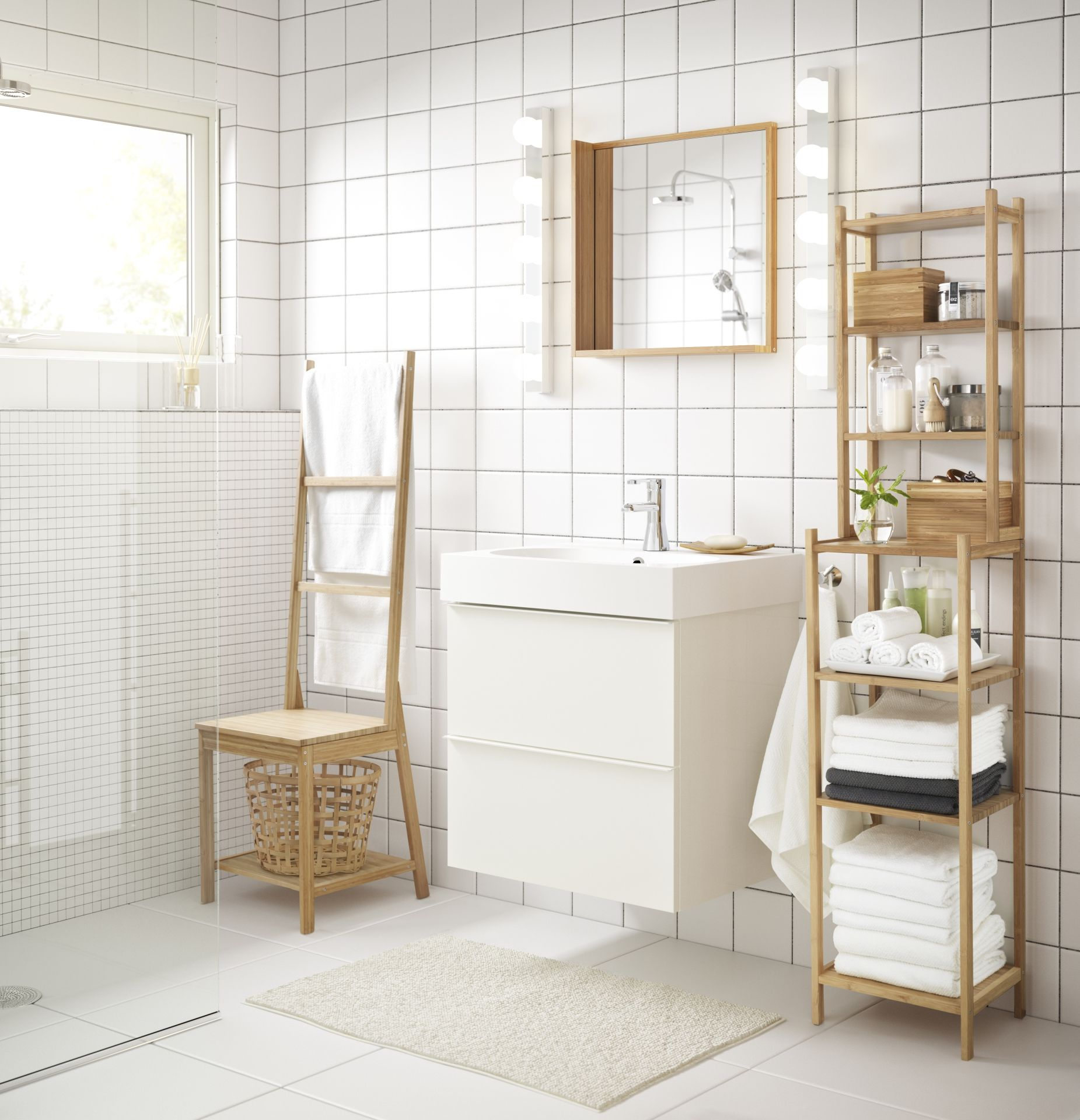 RÅGRUND Stoel met handdoekenrek, bamboe - Bamboe, Ikea en Badkamer