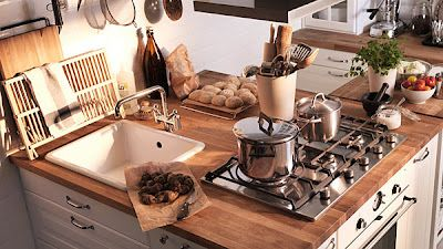 Inspiracje Biala Kuchnia Drewniany Blat Plus Dodatki Drewno