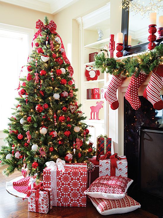 Traditional Red And White Christmas Tree Decorations