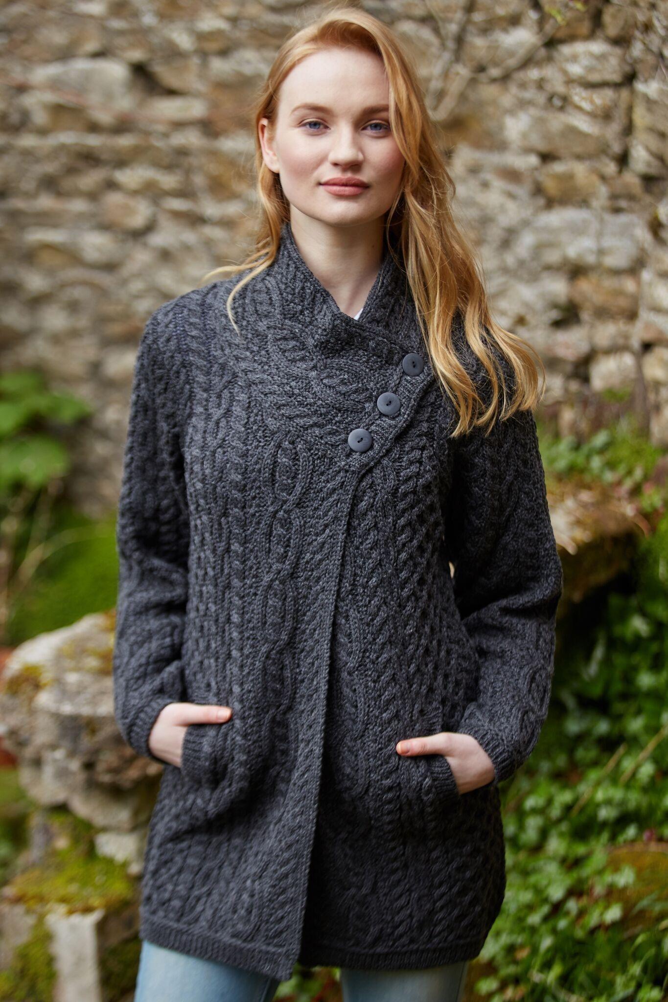 Aran Knitting Patterns Free Irish Aran 3 Button Cardigan ...