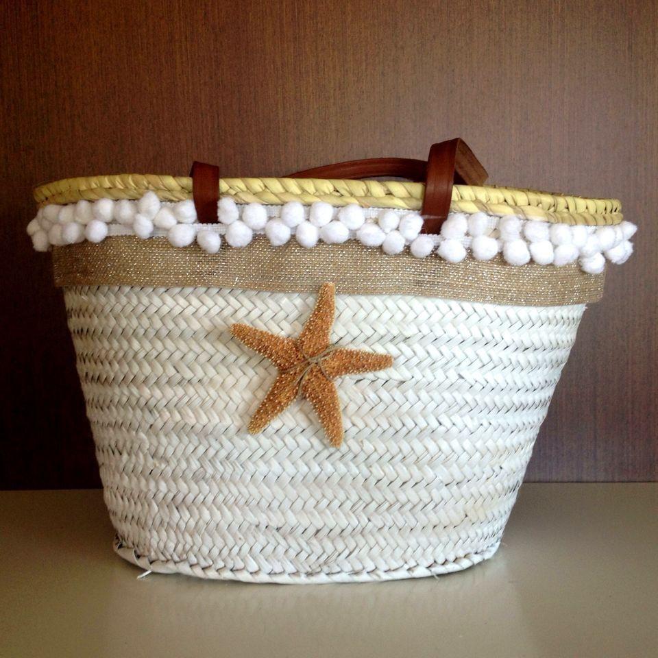 Capazo estrella blanco mediano asas cuero en www - Bolsas para decorar ...