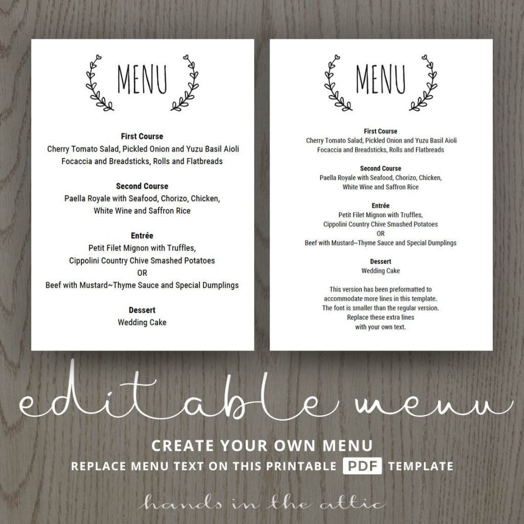 Laurel Wreath Wedding Brunch Menu Template Menu Templates Wedding