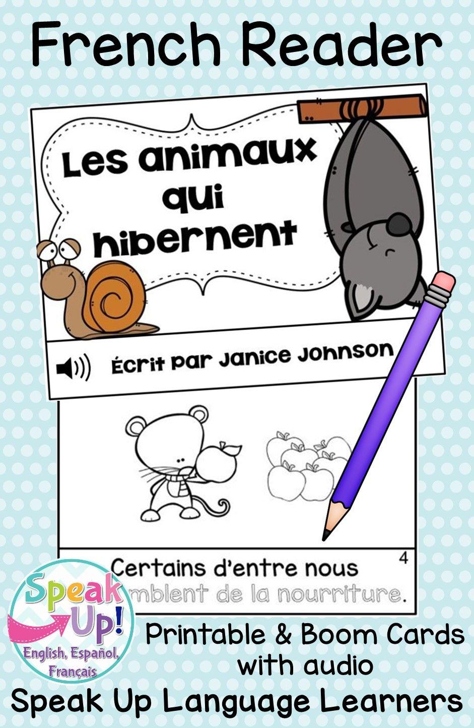 Les Animaux Qui Hibernent : animaux, hibernent, Animaux, Hibernent, French, Reader, Cards, Digital, Version, Audio, Printable, Emergent, Readers,, Reader,, Animals, Hibernate