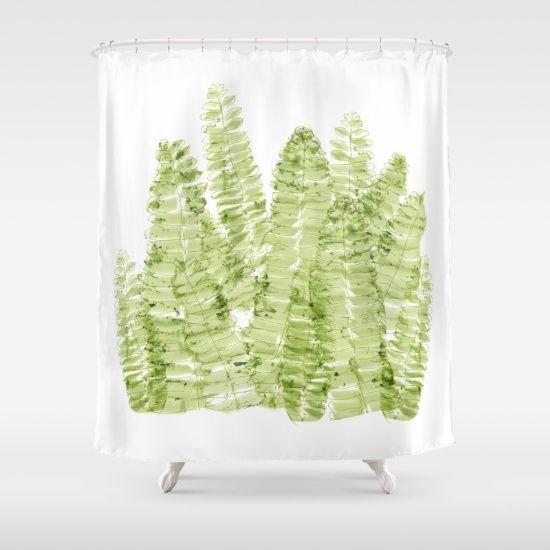 Fern Watercolor Shower Curtain Watercolor Shower Curtain Curtains Shower Curtain