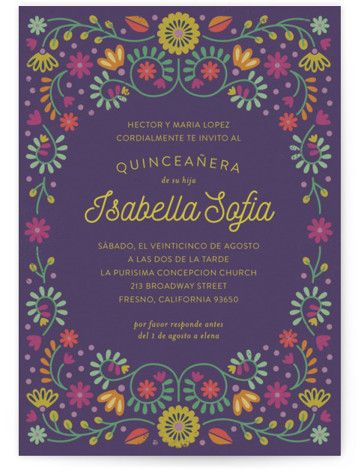 Fiesta Floral Quinceanera Invitations