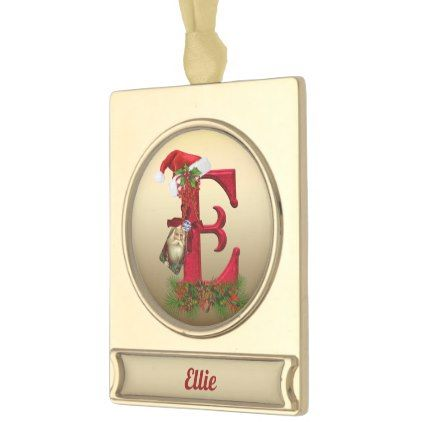 gold vintage christmas alphabet letter e gold plated banner ornament home decor design art diy cyo custom