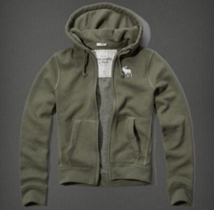 Abercrombie & Fitch Olive Moose LOGO Hoodie Jacket Men's