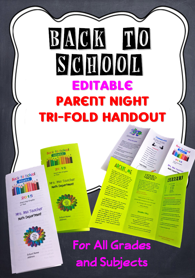 Editable Open House Parent Night Back To School TriFold Brochure