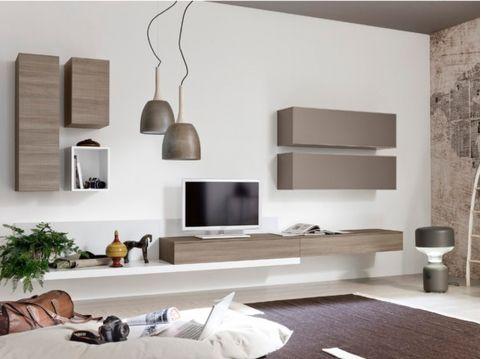 Neha meuble tv mural l360 taupe et bois meubles muraux Meuble salon taupe