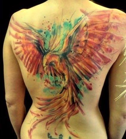 phoenix back tattoo phoenixtattoo watercolor tattoo pinterest ph nix t towierungen. Black Bedroom Furniture Sets. Home Design Ideas