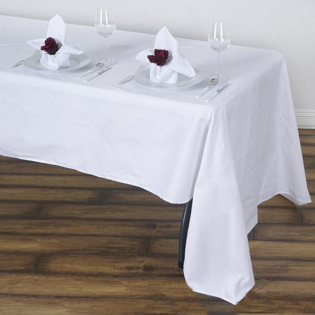 60x126 White Rectangle Chambury Casa 100 Cotton Tablecloth Cotton Tablecloths Table Cloth Tablecloth Sizes