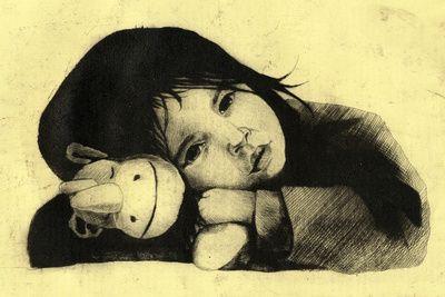Girl Etching 3 Art Print